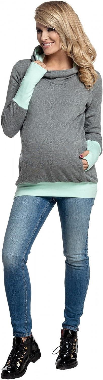 Womens Nursing Hoodie Breastfeeding Contrast Detail Maternity 330p Happy Mama