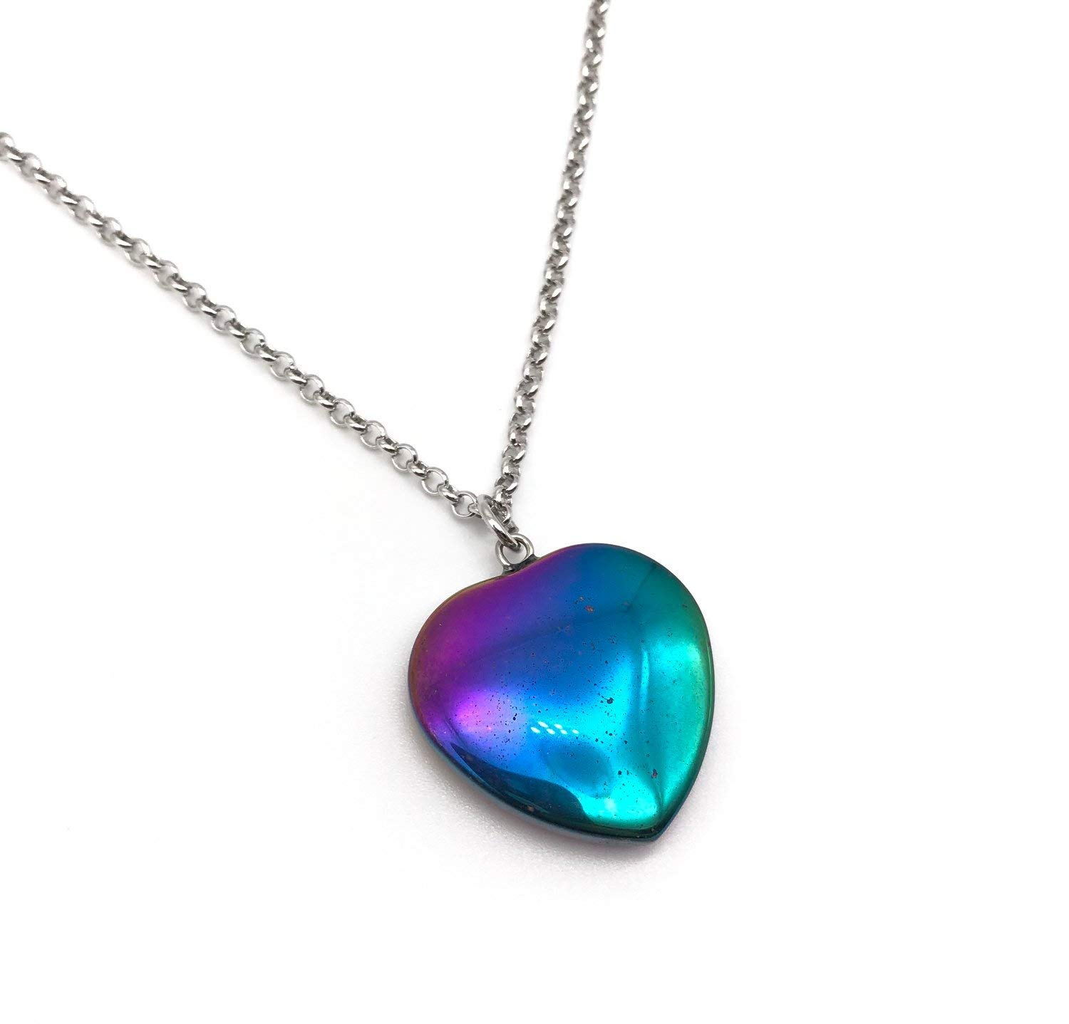 Rainbow Hematite Heart Shape Pendant Necklace Equality Necklace 22 inches