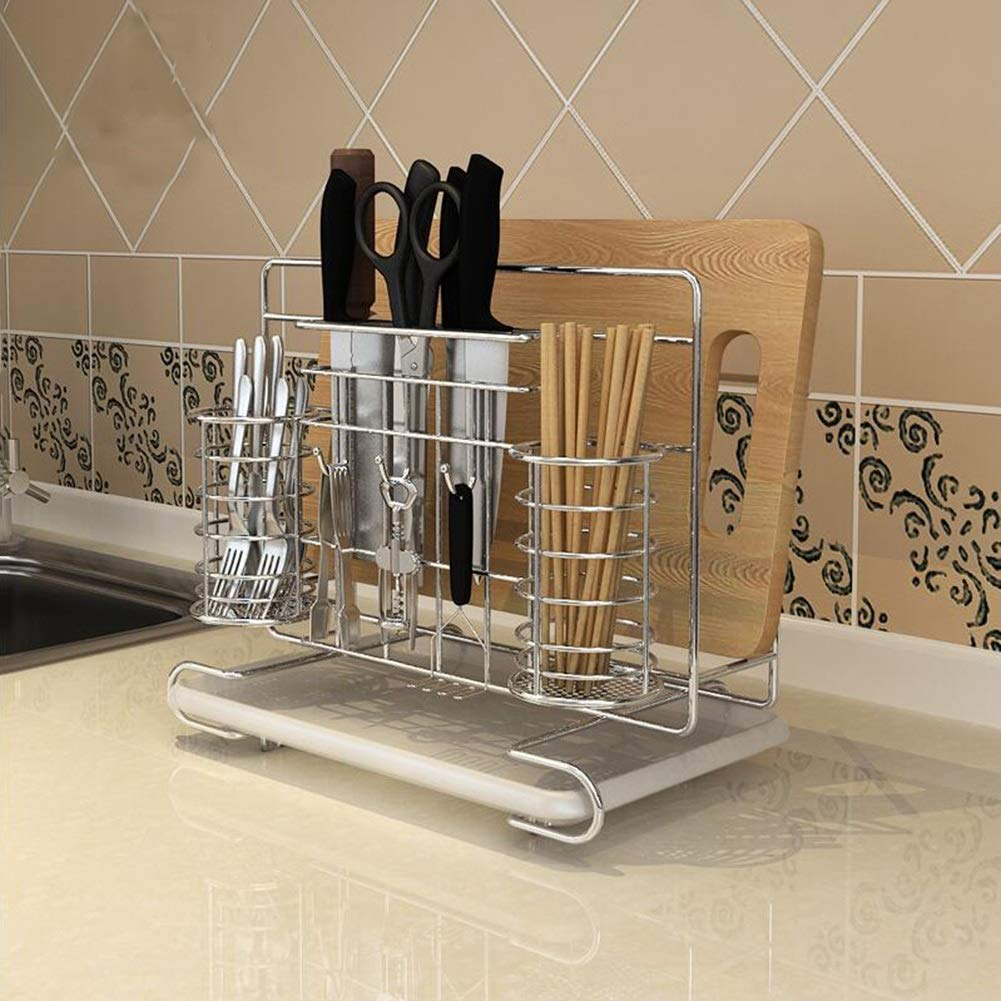 Bookcases Home Kitchen Rack Bold 304 Stainless Steel Kitchen Rack Multi-Function Knife Board Cutting Board Chopsticks Rack with Chassis Yixin (Color : A, Size : 30.32717.5cm)