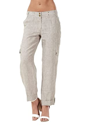 25bcc4423f Ladies Smart Linen Casual Pants Cargo Pants Holiday Summer Trousers ...