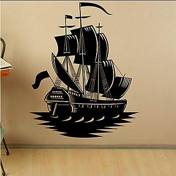 Lkfqjd Barco Pirata Etiqueta De La Pared Calcomanías Para El Hogar Decoración Marina Nave Vinilo Arte Pegatinas De Pared Papel Pintado Autoadhesivo Para Los Niños Dormitorio 55 * 69 Cm: Amazon.es: Bricolaje