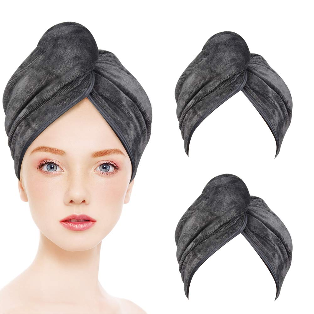 KinHwa Super Absorbent Microfiber Hair Towels Ultra Soft Hair Towel Wrap Anti-frizz Fast Drying Turban for Curly, Long, Thick Hair 3 Pack Gray by KinHwa