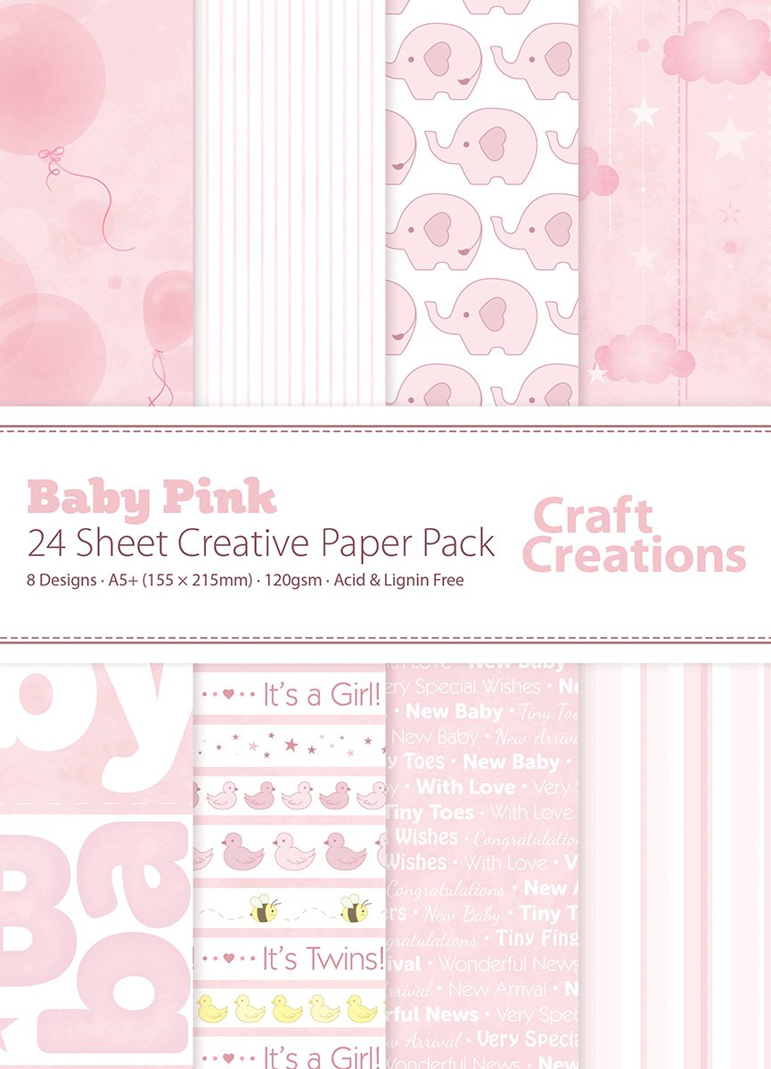 24 Sheets A5+ (155mm x 215mm) Pink Baby Girl New Baby Mix - Craft Creations 120gsm Decorative Scrapbook Backing Paper - Printed Front with Plain White Back - Acid and Lignin Free - For Scrapbooking, Cardmaking and Papercraft Craft Creations Ltd