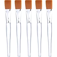 Facial Mask Brush Makeup Brushes Cosmetic Tools with Clear Plastic Handle, 5 Pack (Gold with Yellow Brush)