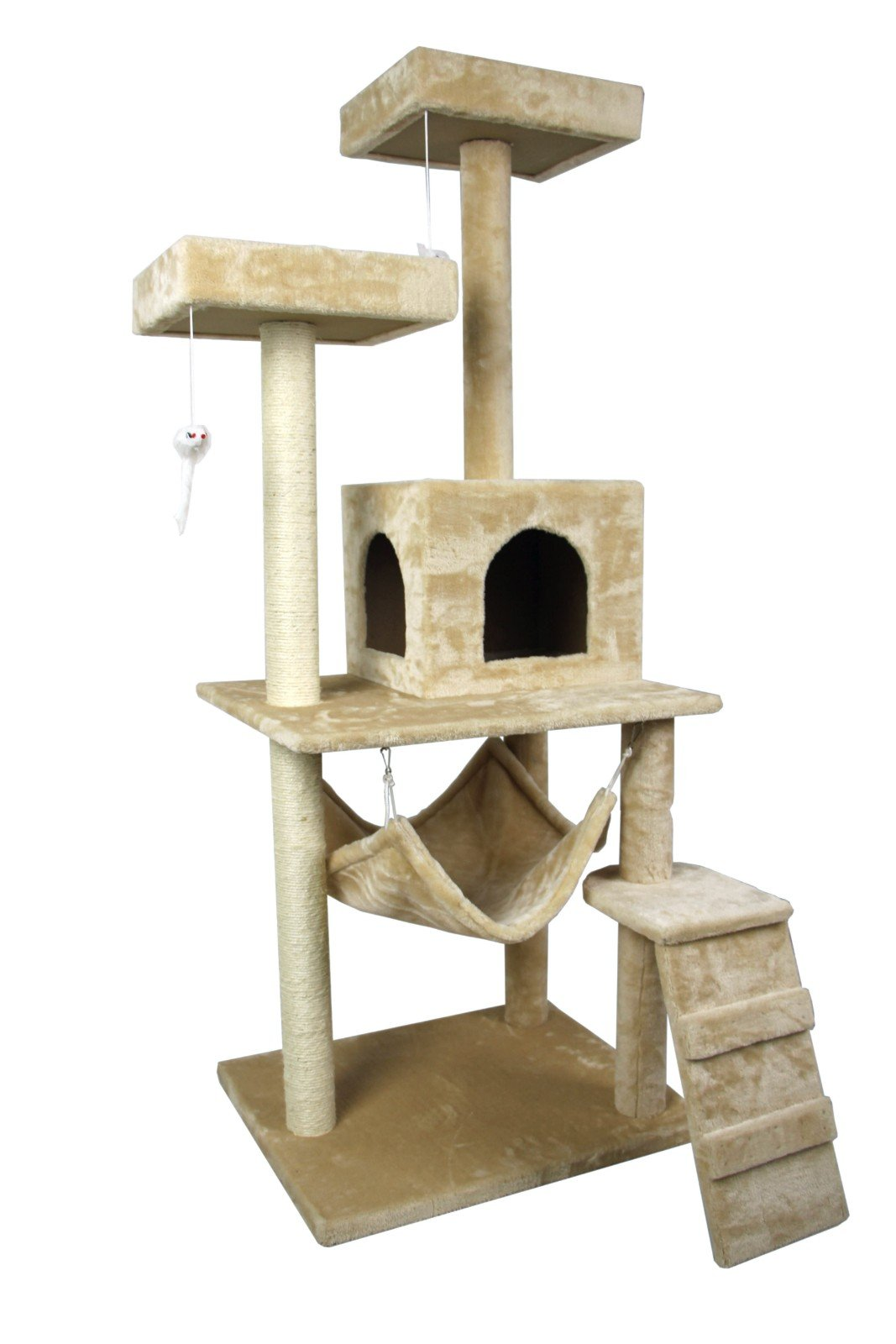 Hiding Nice Cat Tree Tower Condo Furniture Scratch Post Kitty Pet House Play Furniture Sisal Pole Stairs and Hammock, 29.92'' L, Beige by Hiding (Image #5)