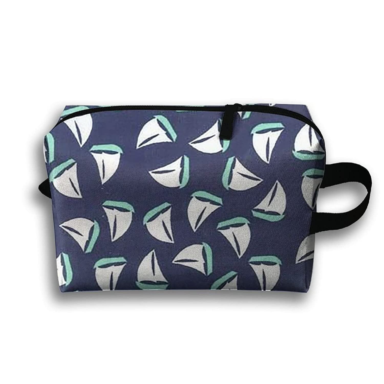 Small Sailboat Pattern Travel Bag Cosmetic Bags Brush Pouch Portable Makeup Bag Zipper Wallet Hangbag Pen Organizer Carry Case Wristlet Holder