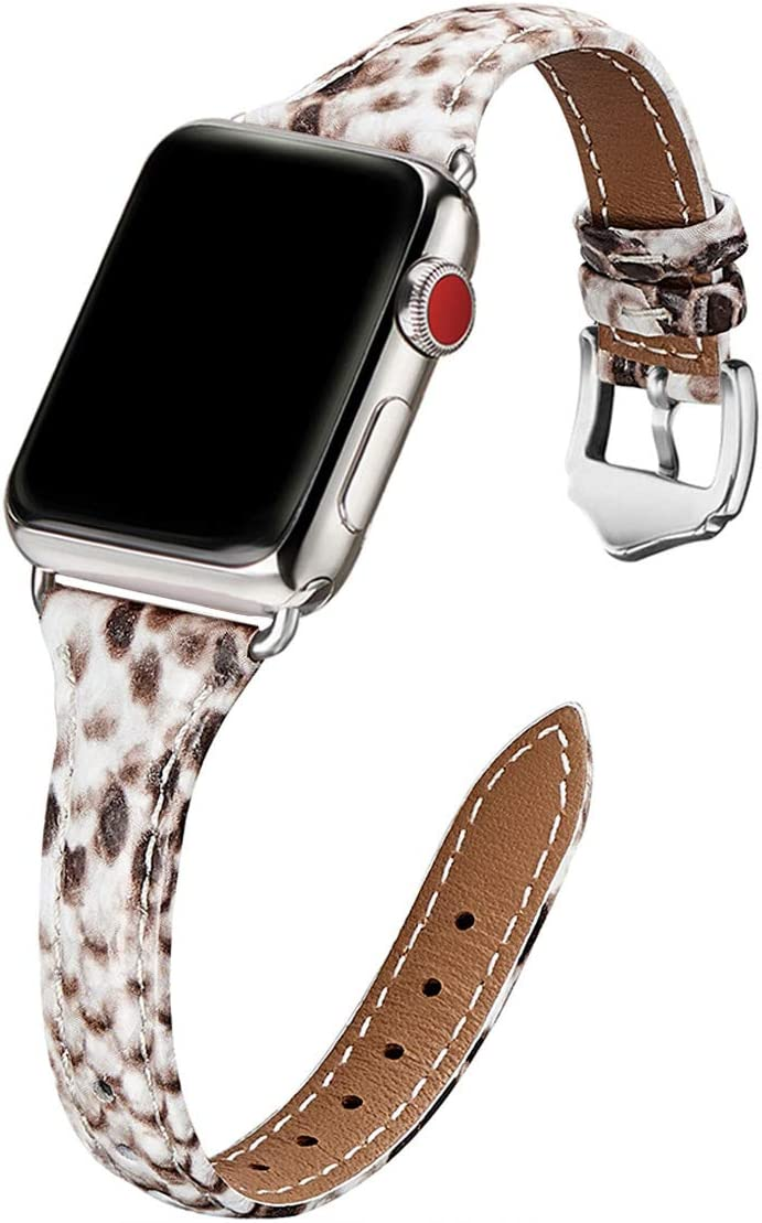 WFEAGL Leather Bands Compatible with Apple Watch 38mm 40mm 42mm 44mm, Top Grain Leather Band Slim & Thin Wristband for iWatch SE & Series 6/5/4/3/2/1 (Snake Pattern Band+Silver Adapter, 38mm 40mm)