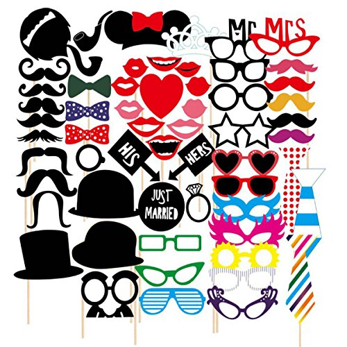 Tresbro 58 Pieces Photo Booth Props DIY Photography Props Kit for Kids ,Adults, Party Favors Ideas for Engagement,Birthdays,Dress-up,Graduation,Wedding Party Supplies