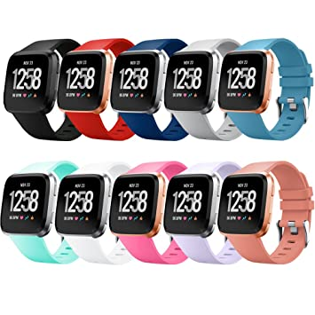 QGHXO Band for Fitbit Versa, Soft Silicone Adjustable Replacement Sport Strap Band for Fitbit Versa Smartwatch, Small, Large