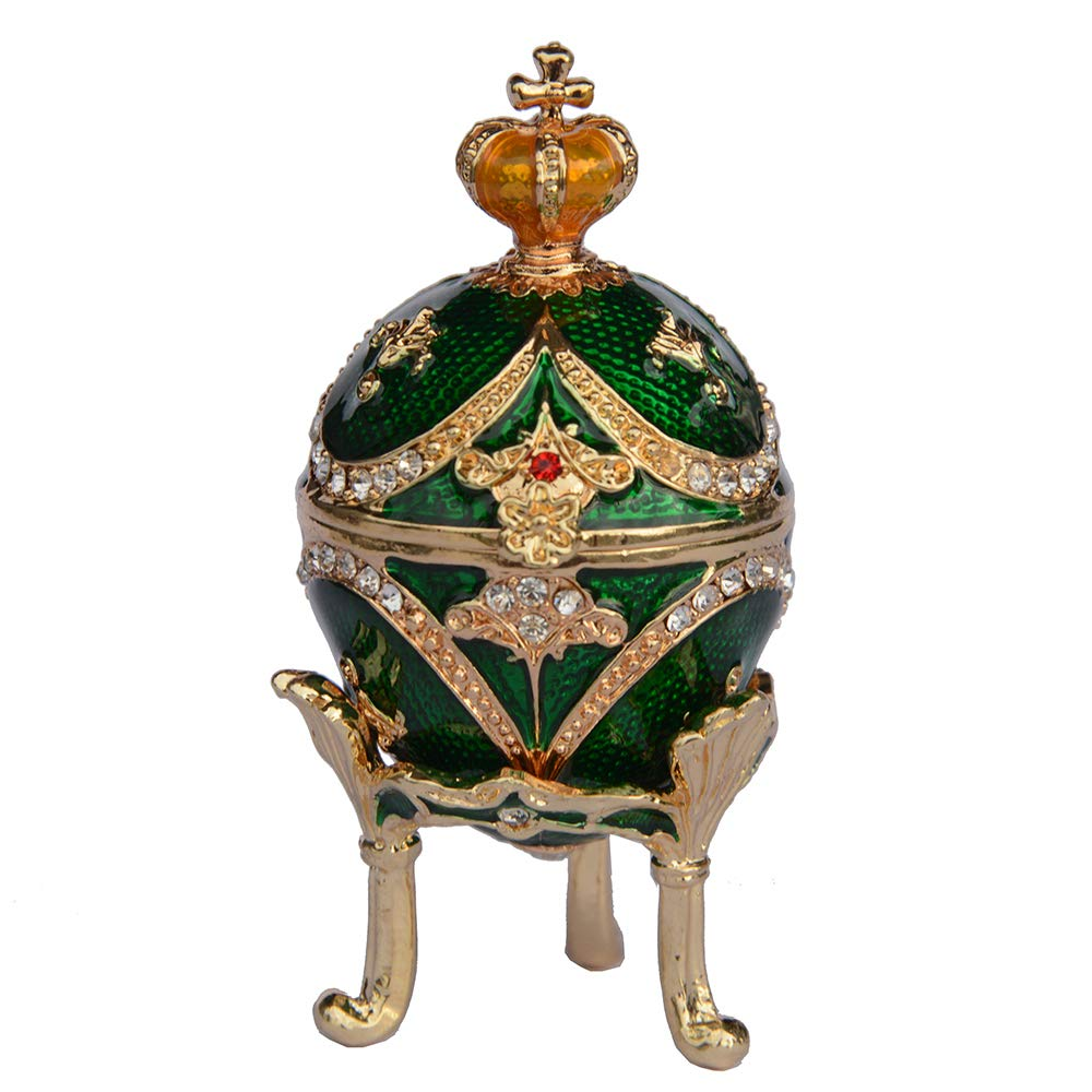 Nai-Style Faberge Pascua de Huevos de Mesa artesan/ías de joyer/ía enjoyada Caja de la baratija del Metal para la decoraci/ón del hogar