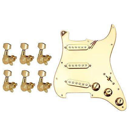 flameer 6 pieza Oro Guitarra acústica Clavijas de afinación ...