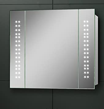 Illuminated Bathroom Mirror Cabinet, (h)600 x (w)650mm IP44 Rated ...