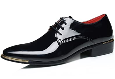 aaf520f08d SANTIMON Dress Shoes for Men Metal Pointed Toe Patent Leather Lace Up  Casual Oxford Black 5.5