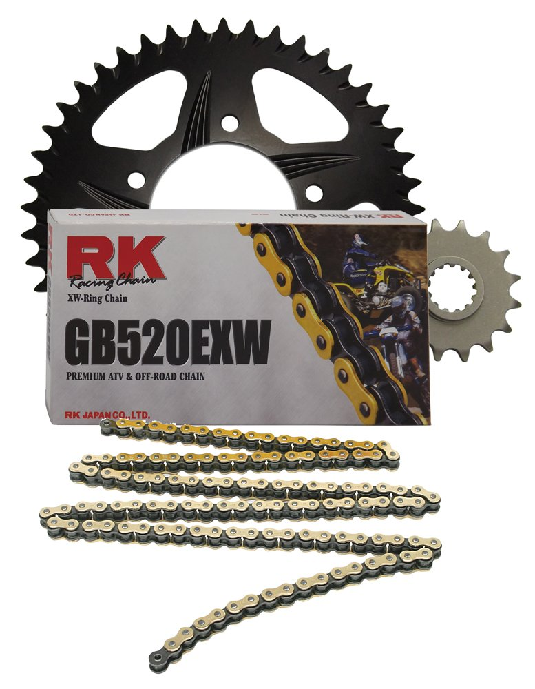 RK Racing Chain 4033-890RK Black Aluminum Rear Sprocket and GB520EXW Chain OE Replacement Kit