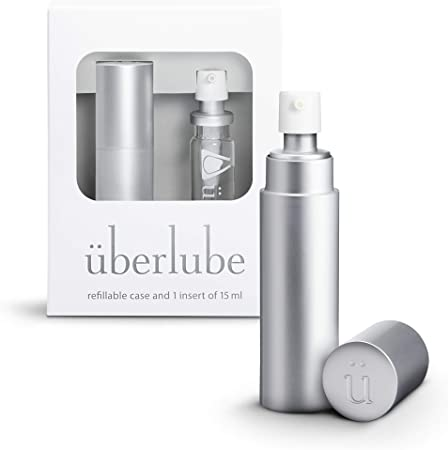 Überlube Good-to-go Travel Lube   Latex-Safe Natural Silicone Lube for Sex with Vitamin E   Unscented, Flavorless, Zero Residue, Works Underwater - 15ml Silver