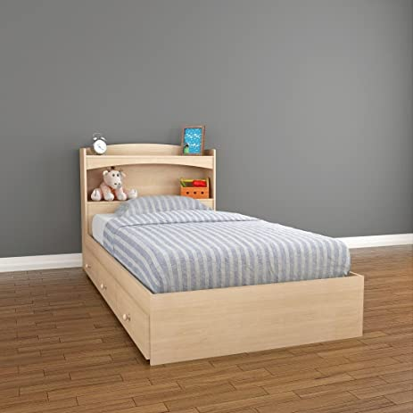 amazon com alegria 3 drawer storage bed with bookcase headboard