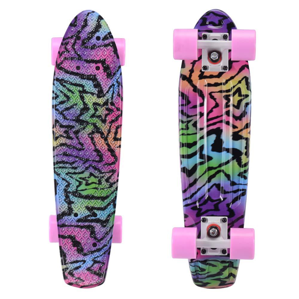 Playshion Complete 22 Inch Mini Cruiser Skateboard for Beginner with Sturdy Deck Pentagram