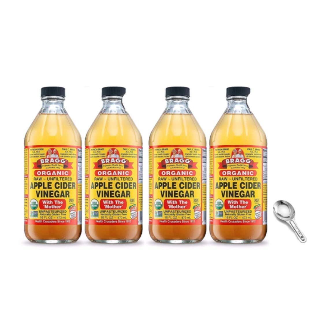 Bragg Organic Apple Cider Vinegar With the Mother 16oz, 2 Pack and Organic Apple Cider Vinegar With the Mother 16oz, 2 Pack with Measuring Spoon