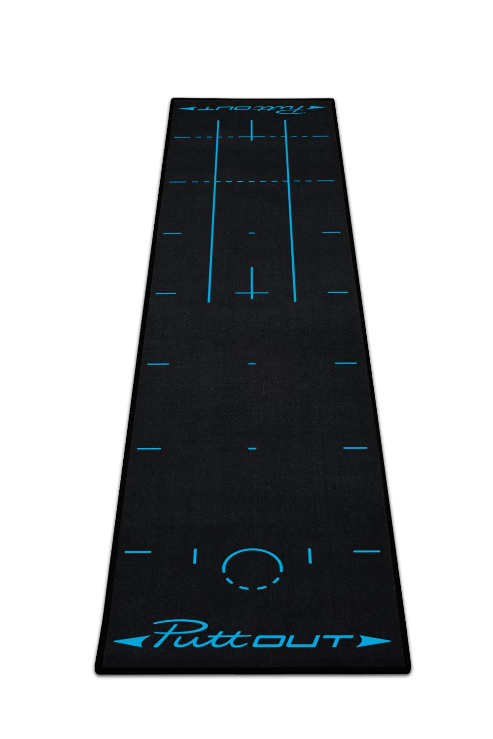 PuttOut Pro Golf Putting Mat - Perfect Your Putting (7.87-feet x 1.64-feet) (Blue/Black) by PuttOut