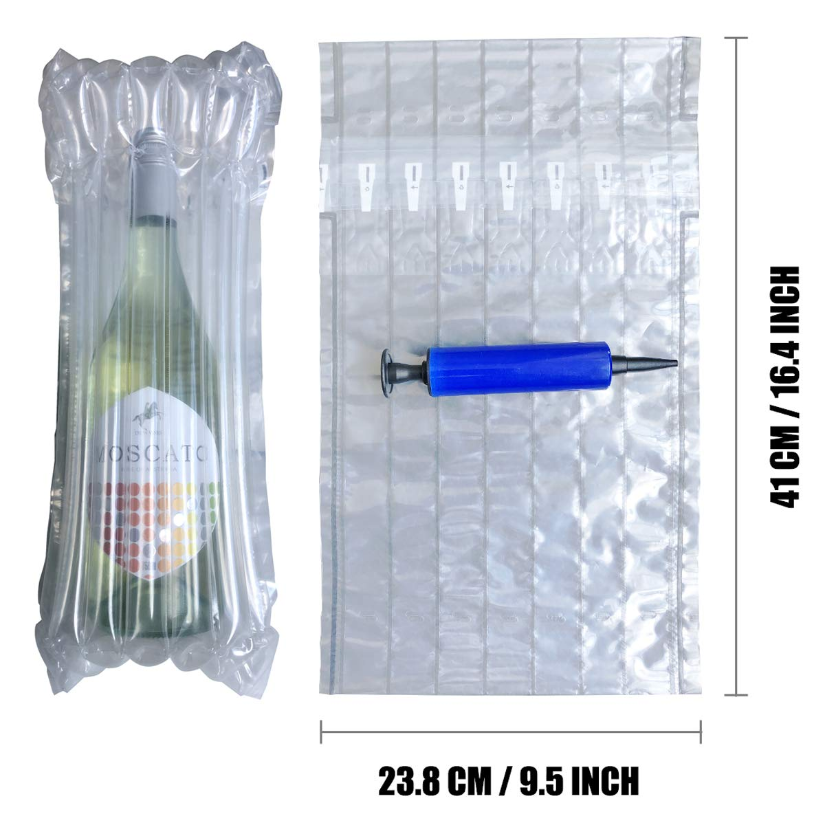 envoltorio para botellas de cristal bolsas de aire amortiguadoras a prueba de golpes 15 unidades de fundas hinchables para botellas de vino Protector para botellas de vino