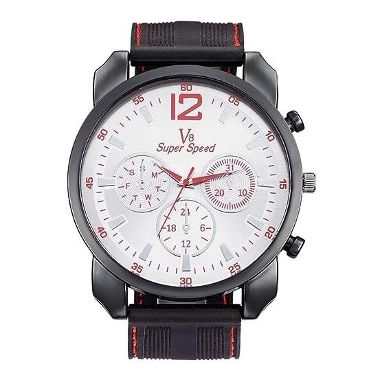 Tecla deportes relojes cuarzo relojes hombre estudiantes Gel de sílice Diseño de moda banda funda: Amazon.es: Relojes