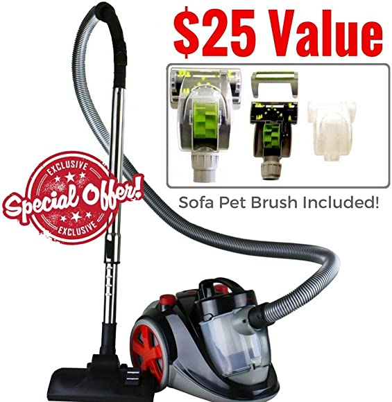 Ovente Bagless Canister Cyclonic Vacuum with HEPA Filter, Comes with Pet Sofa Brush, Telescopic Wand, Combination Bristle Brush Crevice Nozzle and Retractable Cord, Featherlite, Corded ST2010
