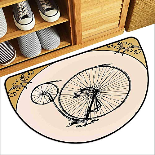 - YOFUHOME Bicycle Printed Door mat Retro Big and Small Tired Bicycle on A Vintage Round Framed Floral Background Boho Anti-Fading W31 x L19 Tan Cream