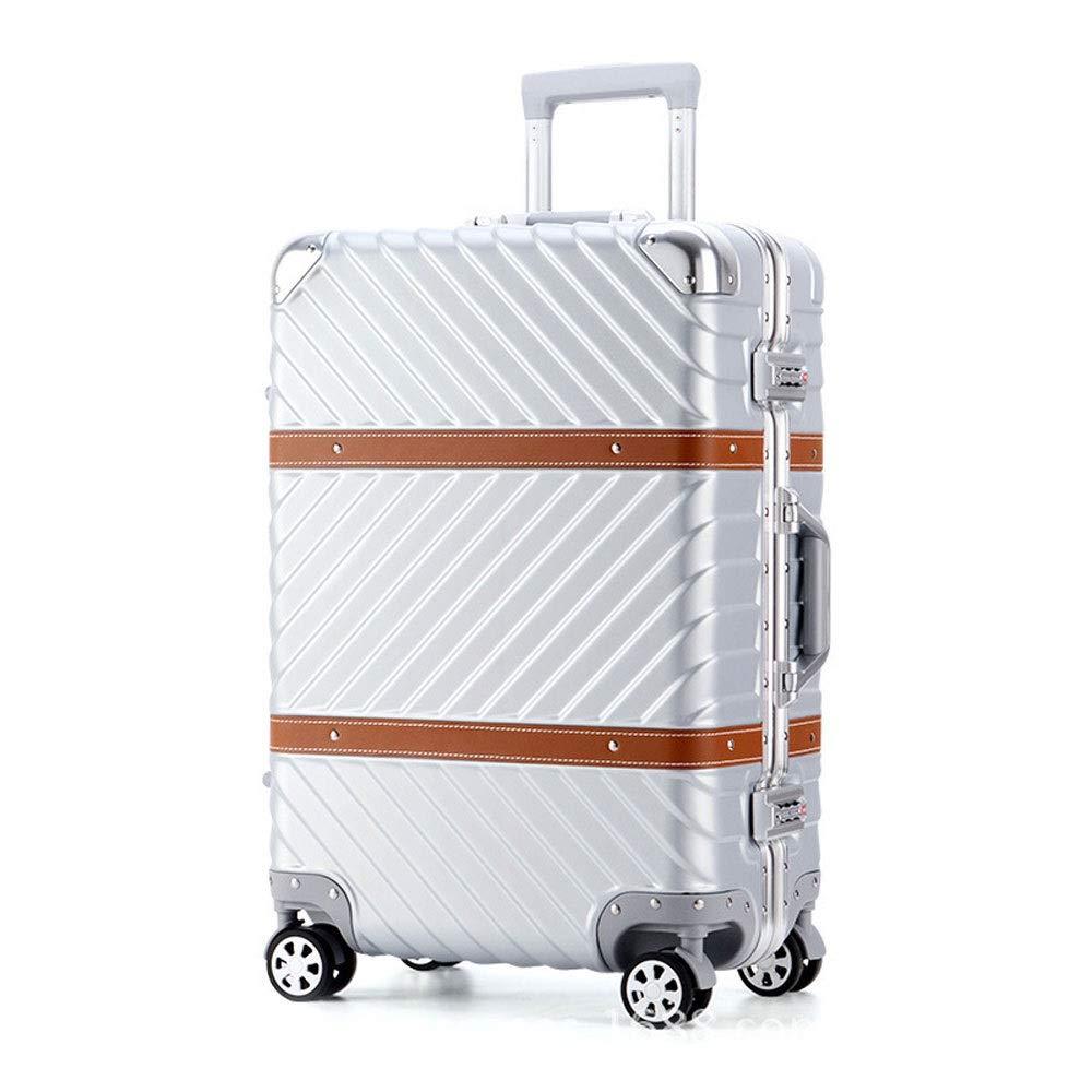 男性と女性のビジネスパスワード搭乗スーツケースのためのアルミフレームアンチスクラッチキャスタートロリーケース (Color : シルバー しるば゜, Size : 26 inch(65x46x29cm))   B07QYMJL7Z