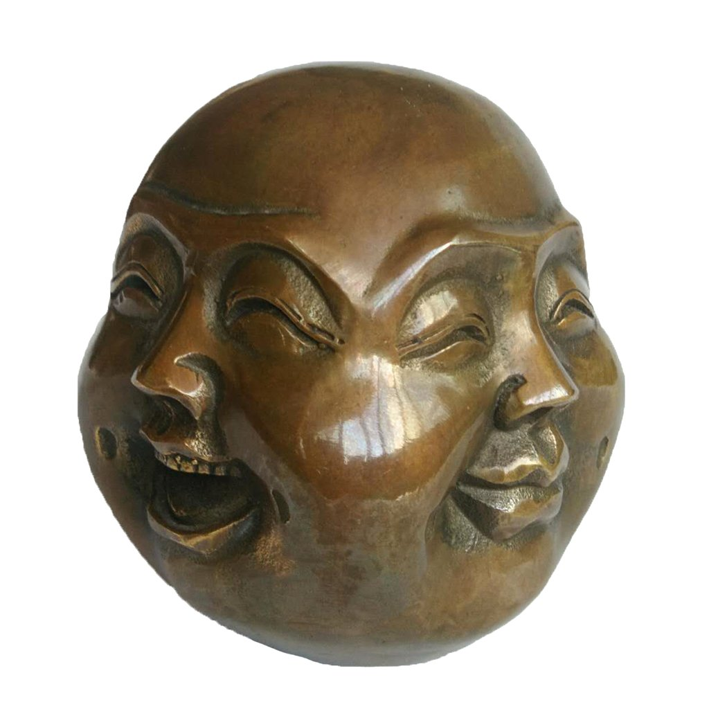 Chinese Fengshui Handmade Brass Buddha with Four Faces ( Laughing Angry Sad Smile ) Statue Collectible Home Decor Gift (M, Brown)