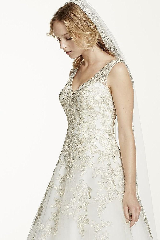 David\'s Bridal Sample: Jewel Tank Tulle V-Neck Beaded Wedding ...