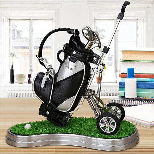 WEITRON Golf Gifts Golf Pens and Bag Holder with 3 Aluminum Pens, Mini Golf Decorations for Office Desk, Novelty Unique Birthday for Golf Fans,Family,Coworker(Black/Silver - Green Base)