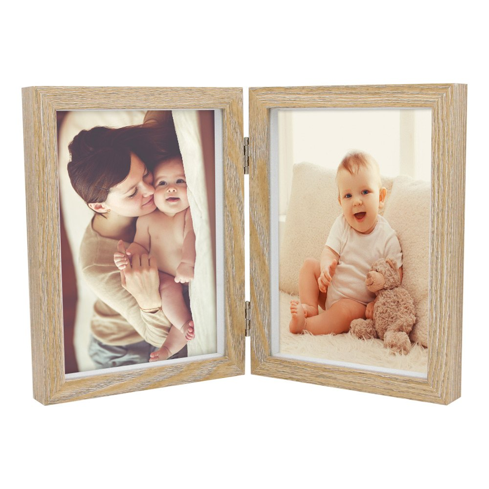 Afuly Double Picture Frame for Baby and Kids 5x7 Vertical Hinged Wooden Photo Frames for Desk Shower Gifts