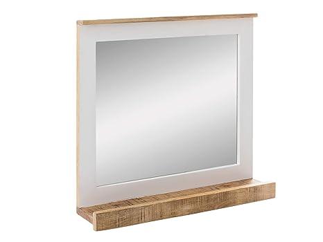 Woodkings Bad Spiegel Pune Massiv Holz Natur Weiss Rustikal Badmobel Badezimmerspiegel Mit Ablage Holzrahmen Wandspiegel
