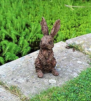 HOME HUT® Adorno de Jardín Conejo Hare Escultura Interior Exterior Efecto de Madera 20 cm: Amazon.es: Jardín