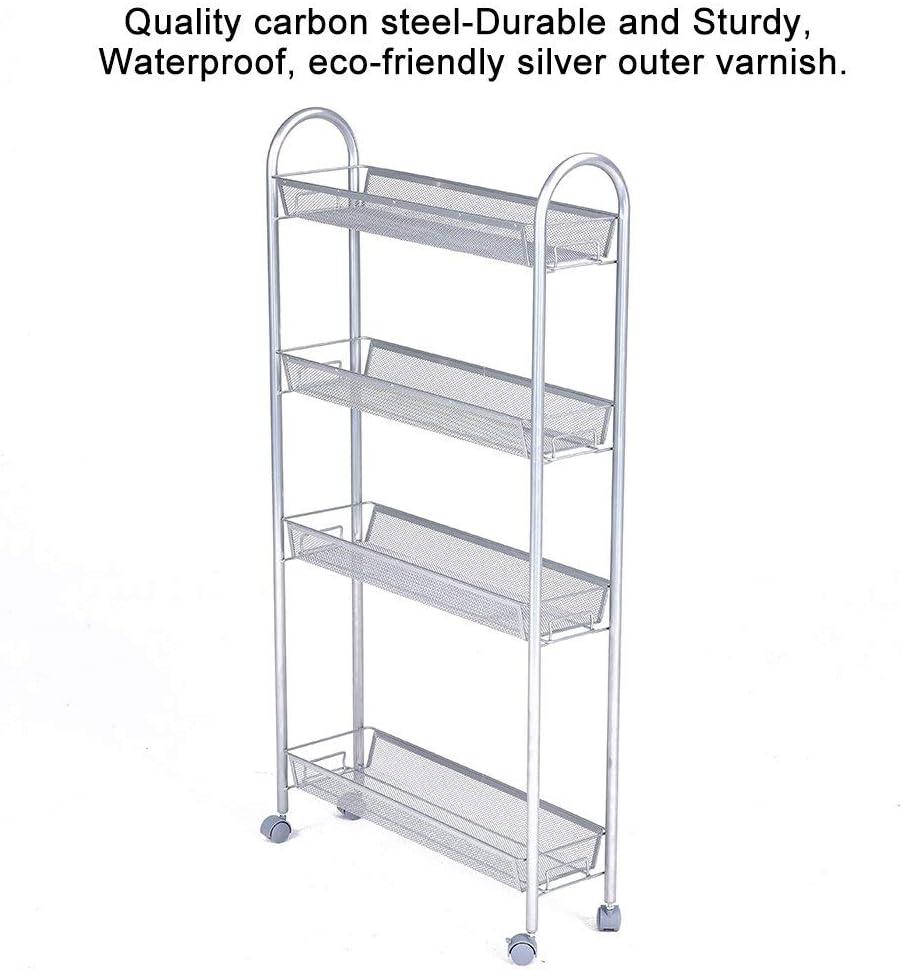 Silvery Grey 13.78 W x 9.84 Dx 31.5H Inch 4-Tier JS HOME Wire Storage Shelves Kitchen Rack Unit