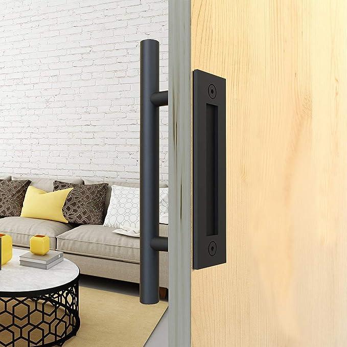 Juego de manijas de puerta de granero de acero inoxidable para puertas correderas y tiradores de acero inoxidable para puertas de granero, puertas de armario, cobertizos de jardín, etc., color negro: Amazon.es: