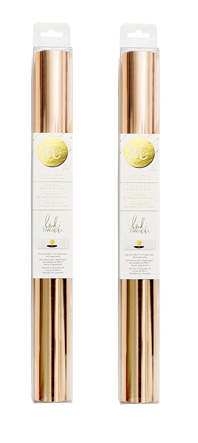 Heidi Swapp MINC Application Machine Reactive Foil by American Crafts | 12-inch x 120-inch Rose Gold Foil Roll (2 Pack) by American Crafts