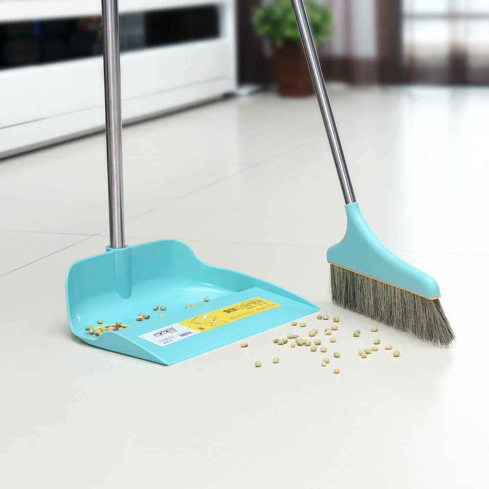 Upright Sweep Set, Material Home Casual Environmental Recycle Broom and Dustpan Set, Side Pour The Garbage for Kitchen Garden Home Office (Blue) by Biaky (Image #9)