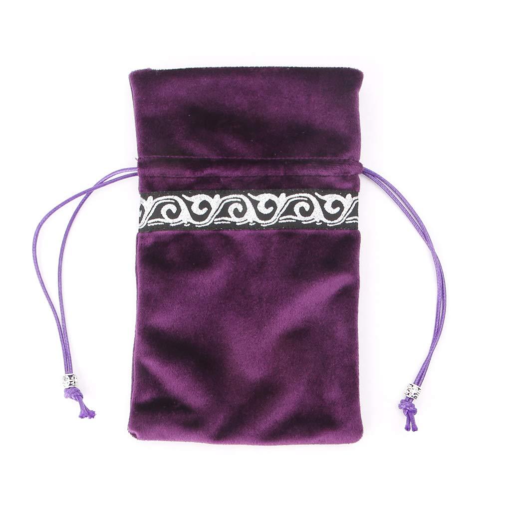 Sitonelectic Accessori per Gioco di divinazione Purple 1 Set di tovaglia in Velluto a Forma di tarocchi con Borsa per Carte
