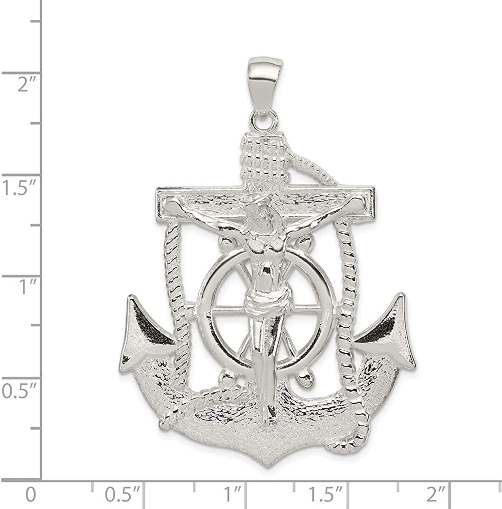 925 Sterling Silver Polished Cross Shaped Pendant