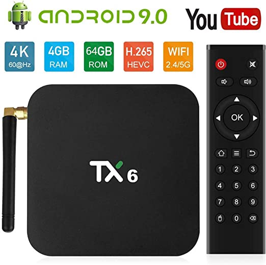 YPSMCYL TV Box Android 9.0 4GB 64GB Quad Core USD3.0 BT4.2 4K HD Soporte Google Player Smart TV Box Soporte 2.4G / 5G WiFi / BT4.2 Stream Media Player: Amazon.es: Hogar
