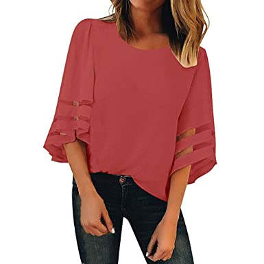 aa7eb0616d2698 Rosatro Women t Shirt Summer,Women Off Shoulder Mesh Solid Chiffon Panel  Blouse 3/4 Bell Sleeve Loose Top Shirt: Amazon.in: Clothing & Accessories