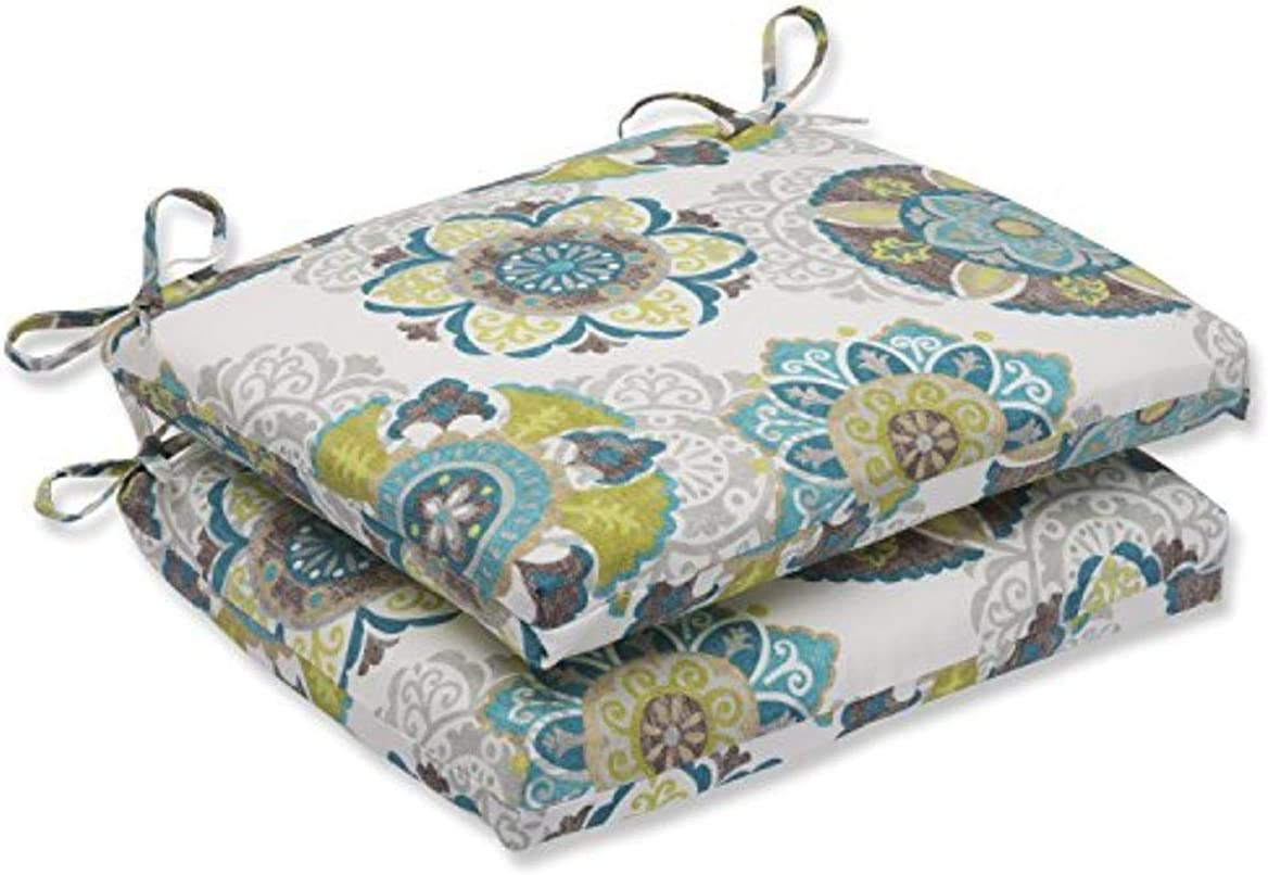 Pillow Perfect Outdoor/Indoor Allodala Oasis Square Corner Seat Cushions, 18.5 in. L X 16 in. W X 3 in. D, Blue, 2 Pack