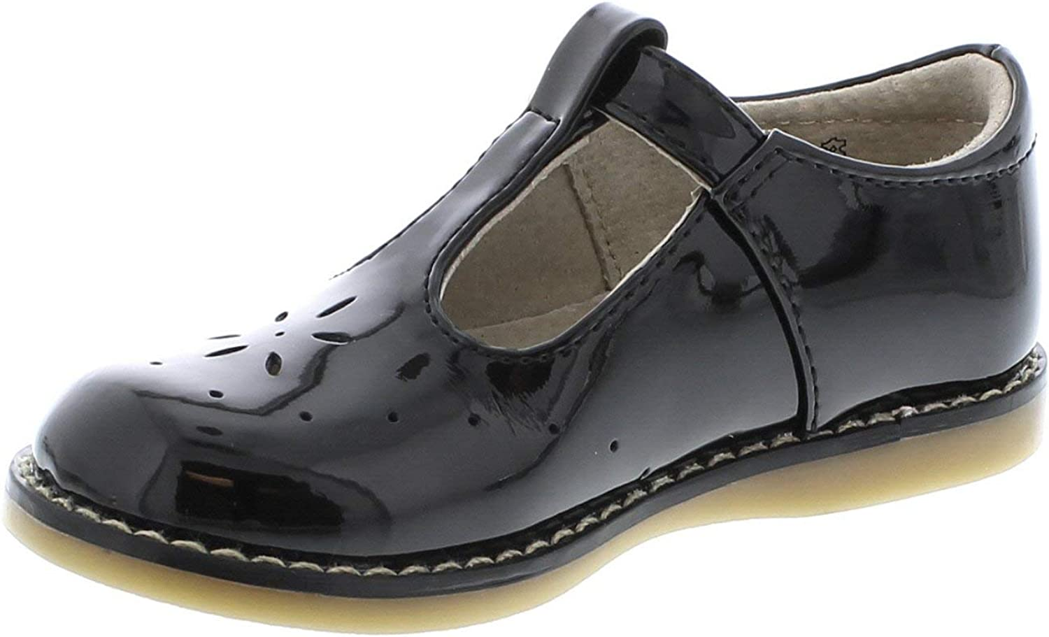 FOOTMATES Girl's Sherry Free shipping Hook-and-Loop Patent Sale special price Black Perf T-Strap