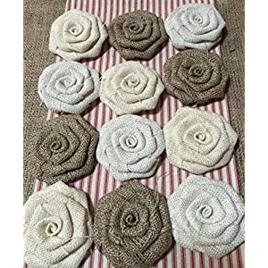 "Set of 12 Burlap Flowers in Shades of Neutral 3.5"" Diameter Flowers Natural, Ivory and White Burlap Rustic Wedding Cake Top Table Centerpiece Baby Shower Decor Wreath 66"