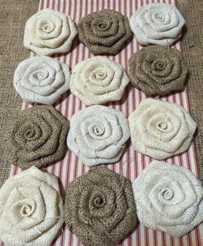 Set of 12 Burlap Flowers in Shades of Neutral 3.5