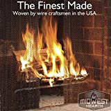 "Midwest Hearth Fireplace Screen Mesh Curtain. 2 Panels Each 24"" Wide. Includes Screen Pulls. Made in USA (20"" Tall - Black)"