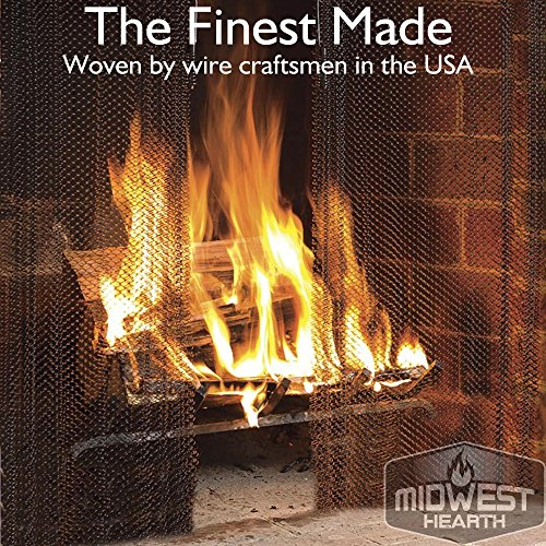 Black Sparkguard (Midwest Hearth Fireplace Screen Mesh Curtain. 2 Panels Each 24