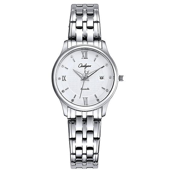 Onlyou acero los amantes de los relojes marca de lujo hombres negocios reloj de oro las mujeres de moda de la pulsera reloj de pulsera: Amazon.es: Relojes