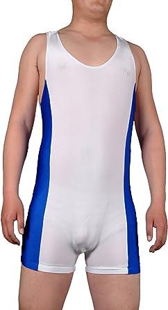 Amazon Com Tomsuit Azul Y Blanco Mens Wrestling Singlet Hecho De Licra M Sports Outdoors